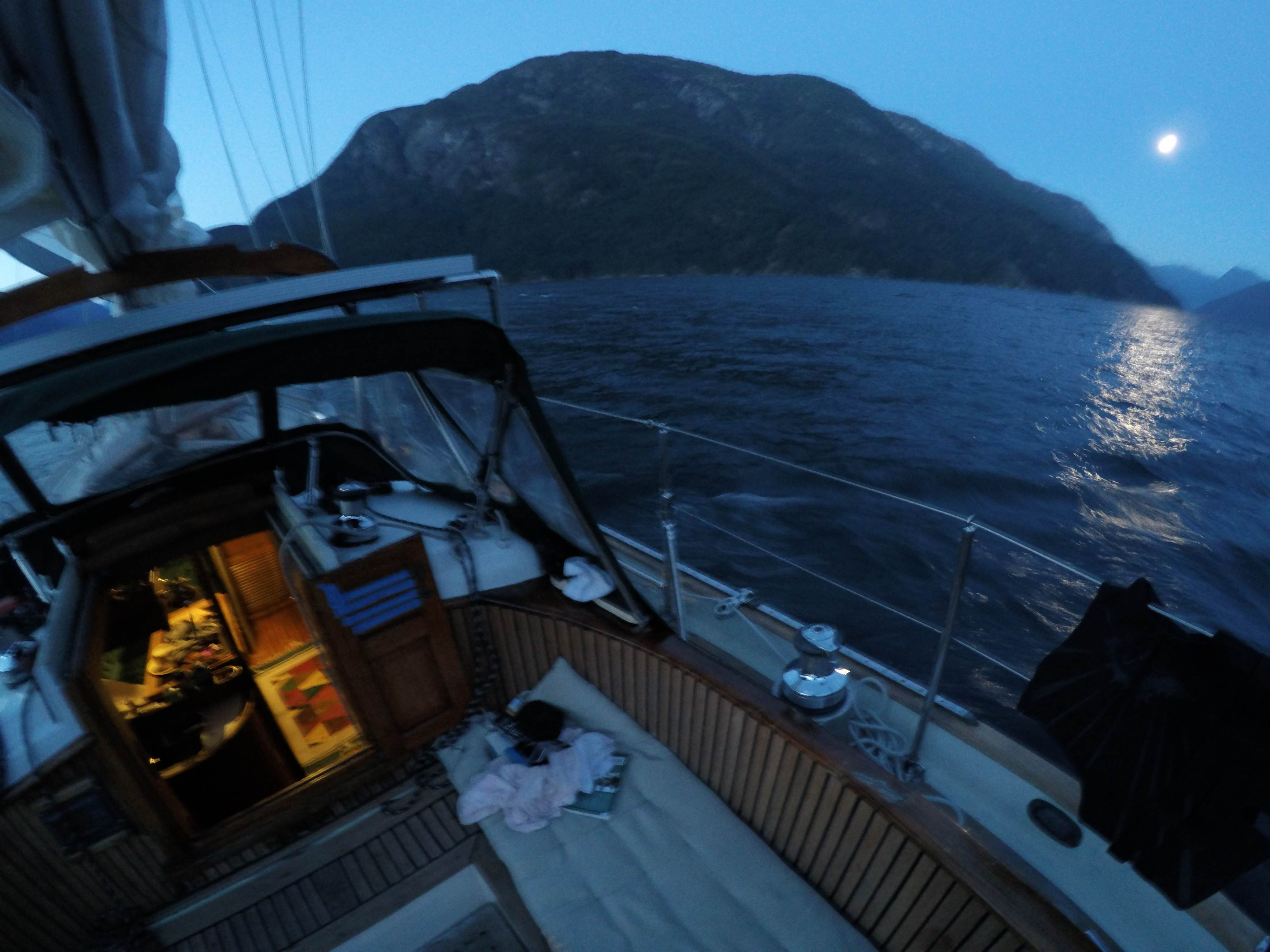 The moon is up and we're still sailing. An experience to remember. Alone in paradise.