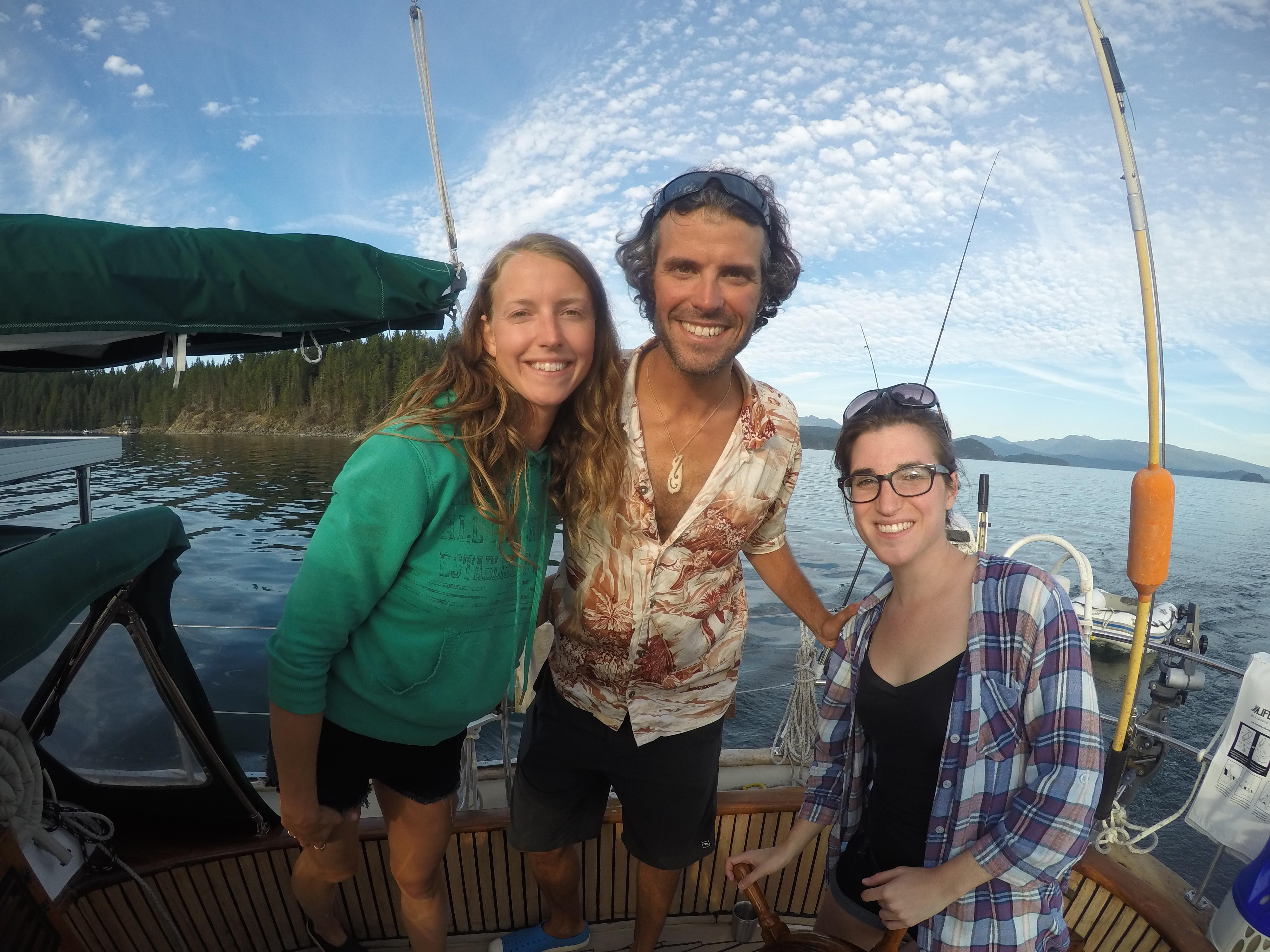 Emmanuel, Saxony and Tamara abord Leela in Desolation Sound