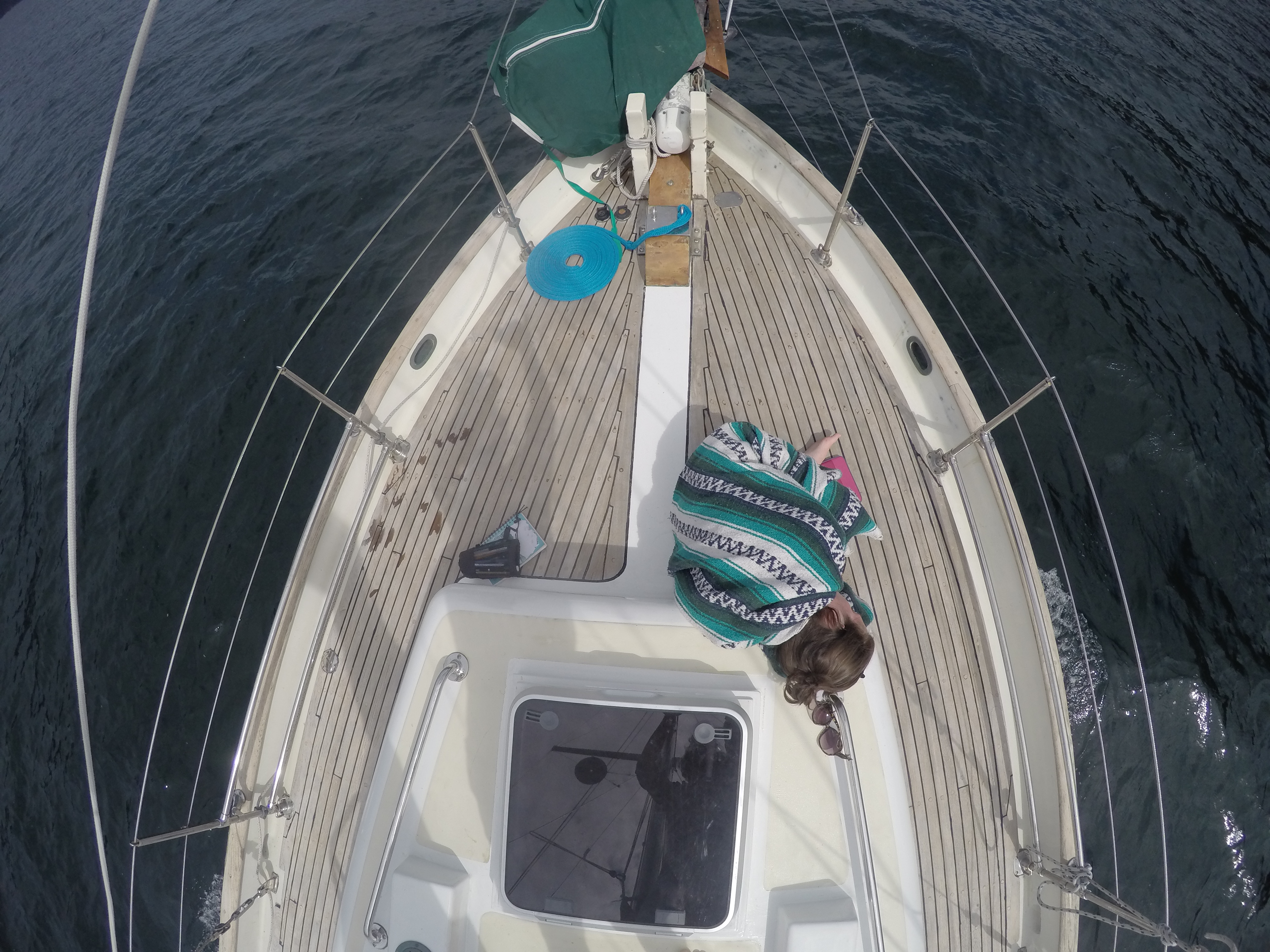 Tamara relaxing on deck of Leela