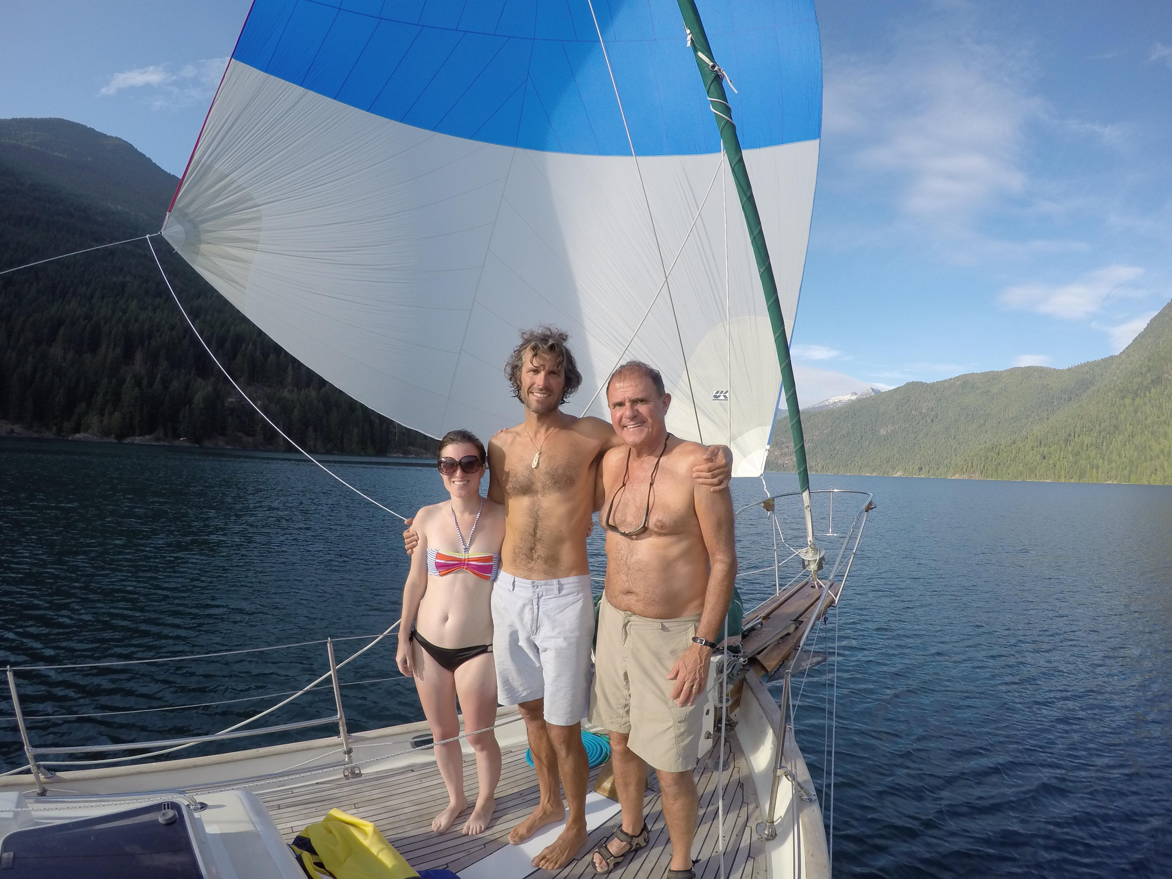 Tamara, Emmanuel and Roger aboard Leela in Desolation Sound