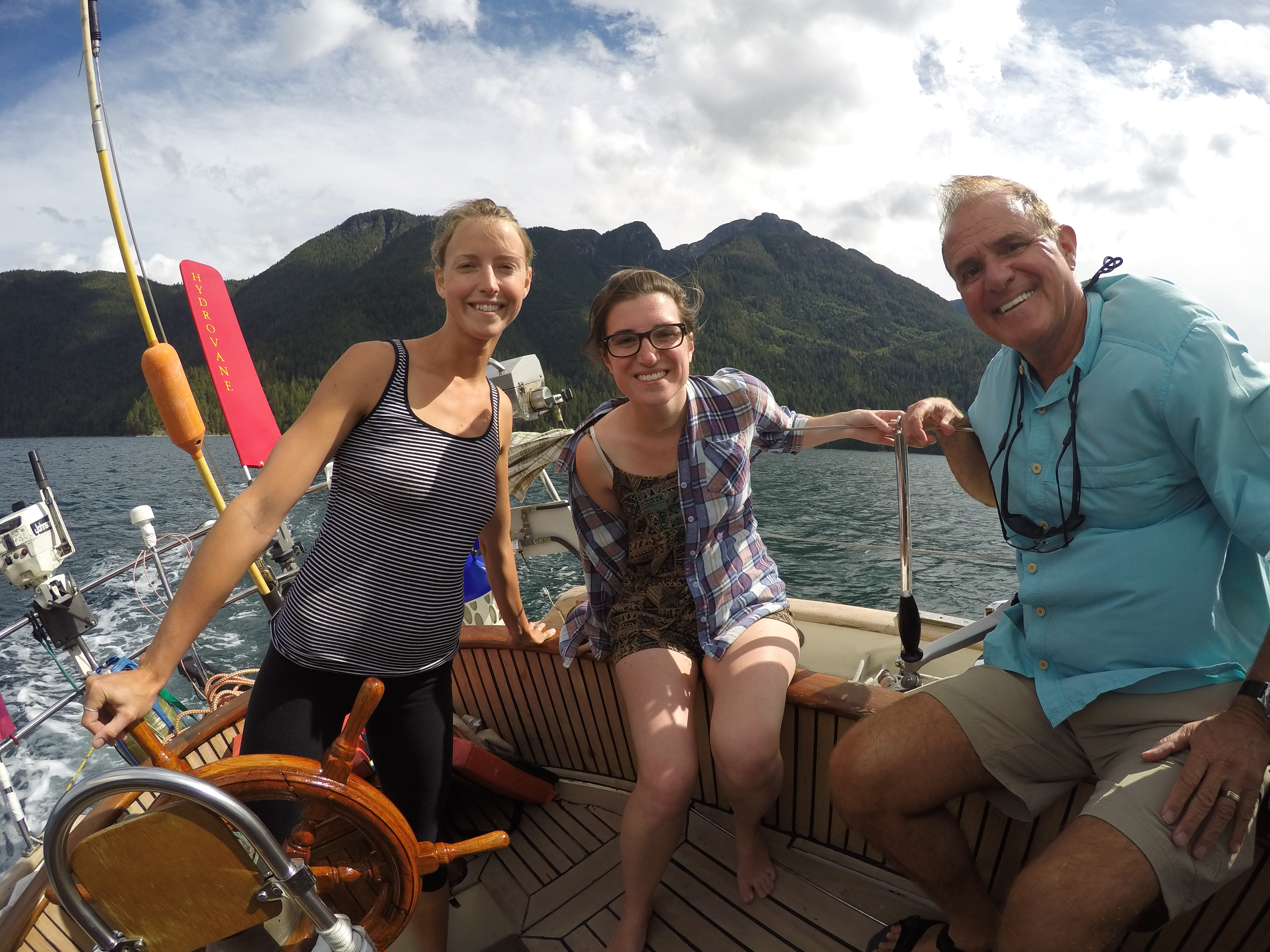 Saxony, Tamara, Roger sailing Leela in Desolation Sound