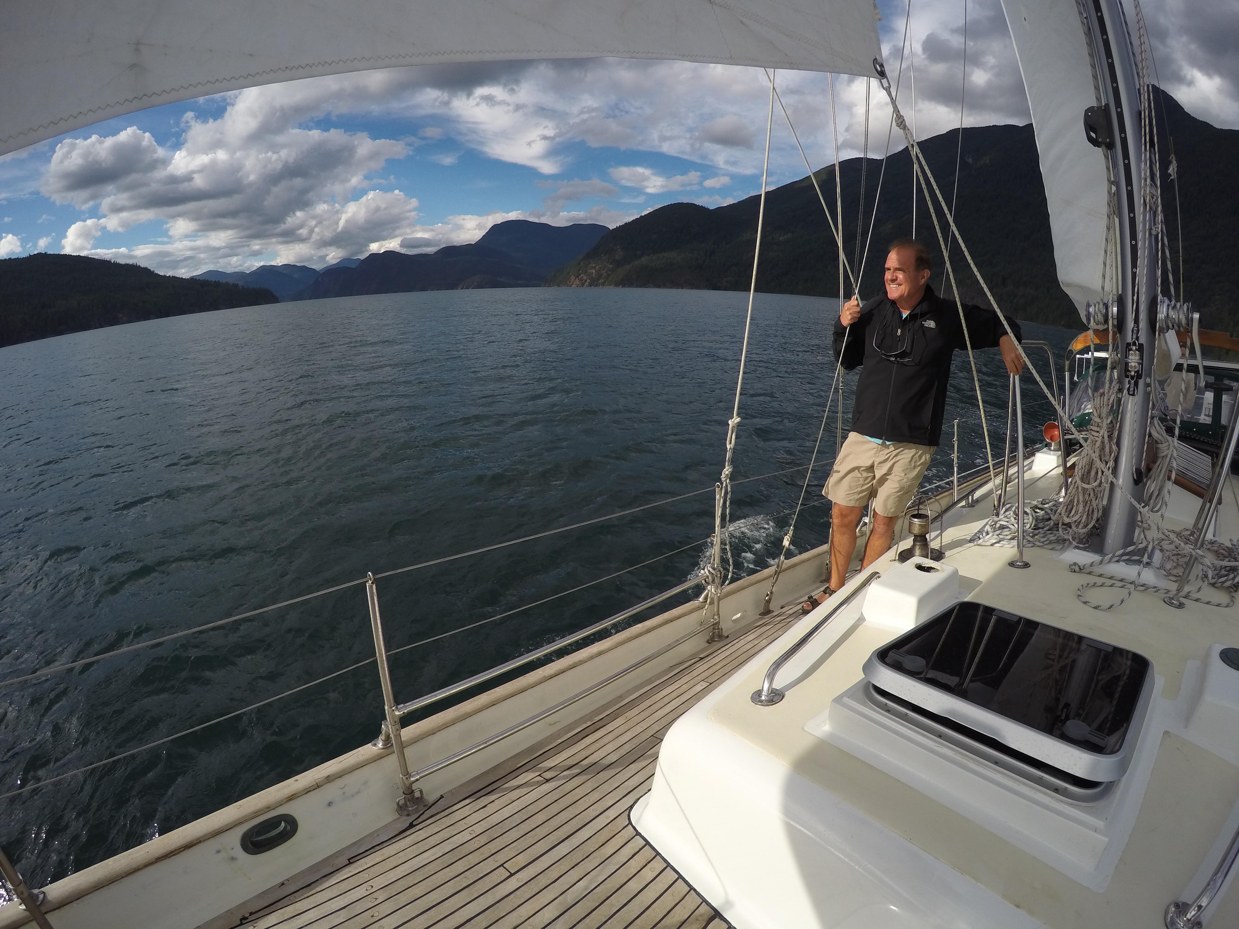 Roger sailing Leela in Desolation Sound